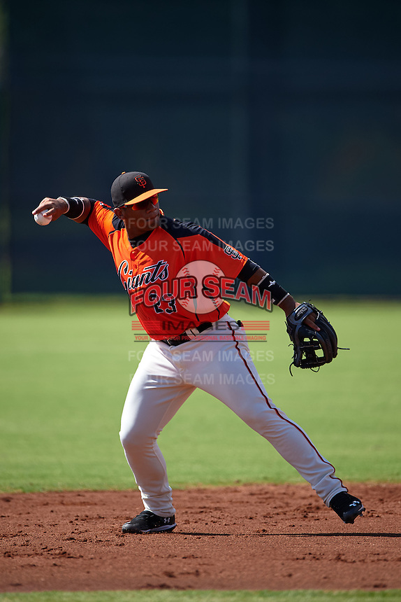 San Francisco Giants Miguel Gomez (23) during an instructional league game against the Colorado Rockies on October 7, 2015 at the Giants Baseball Complex in Scottsdale, Arizona.  (Mike Janes/Four Seam Images)