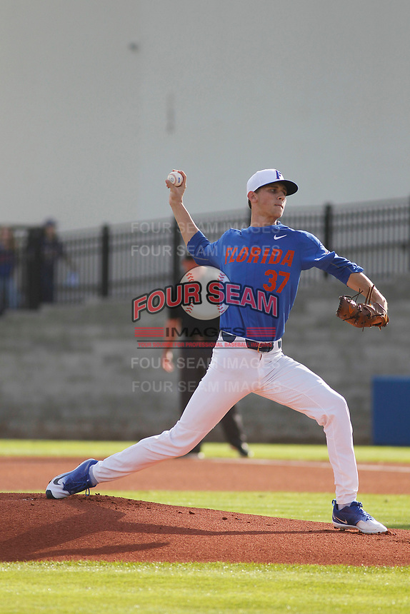 University of Florida Gators pitcher Jackson Kower (37) on the mound during a game against the Siena Saints at Alfred A. McKethan Stadium in Gainesville, Florida on February 17, 2018. Florida defeated Siena 10-2. (Robert Gurganus/Four Seam Images)