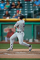 Zach Borenstein (19) of the Reno Aces bats against the Salt Lake Bees in Pacific Coast League action at Smith's Ballpark on June 15, 2017 in Salt Lake City, Utah. The Aces defeated the Bees 13-5. (Stephen Smith/Four Seam Images)
