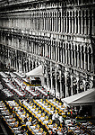 "Café's lined up in St Marks Square, San Marco, Venice, Italy. Piazza San Marco, is the principal public square of Venice,  where it is generally known just as ""the Piazza"". All other urban spaces in the city are called ""campi""."