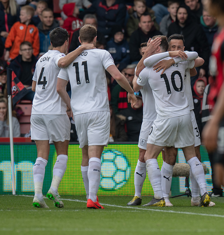 Burnley's Ashley Barnes celebrates scoring his side's third goal with team-mate <br /> <br /> Photographer David Horton/CameraSport<br /> <br /> The Premier League - Bournemouth v Burnley - Saturday 6th April 2019 - Vitality Stadium - Bournemouth<br /> <br /> World Copyright © 2019 CameraSport. All rights reserved. 43 Linden Ave. Countesthorpe. Leicester. England. LE8 5PG - Tel: +44 (0) 116 277 4147 - admin@camerasport.com - www.camerasport.com