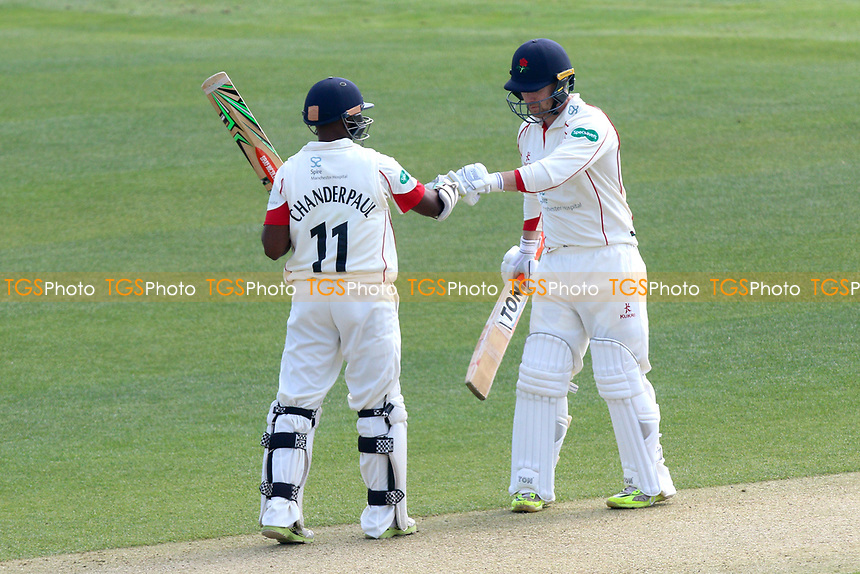 Shivnarine Chanderpaul (L) and Steven Croft of Lancashire during Essex CCC vs Lancashire CCC, Specsavers County Championship Division 1 Cricket at The Cloudfm County Ground on 7th April 2017