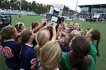 04 November 2012: Virginia players celebrate with the championship trophy. The University of Virginia Cavaliers defeated the University of Maryland Terrapins 4-0 at WakeMed Stadium in Cary, North Carolina in a 2012 NCAA Division I Women's Soccer and Atlantic Coast Conference Tournament Championship game.
