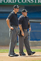 (L-R) Umpires Luke Engen and Ben Leake prior to the start of the Appalachian League game between the Bluefield Orioles and the Princeton Rays at Hunnicutt Field July 4, 2010, in Princeton, West Virginia.  Photo by Brian Westerholt / Four Seam Images