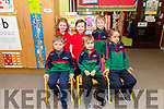 Pupils from Scoil Mhaolcheadair (front) David, Tomas, Vivienne, (back) Aoibhín, Emma and Ruan, on their first day at school.