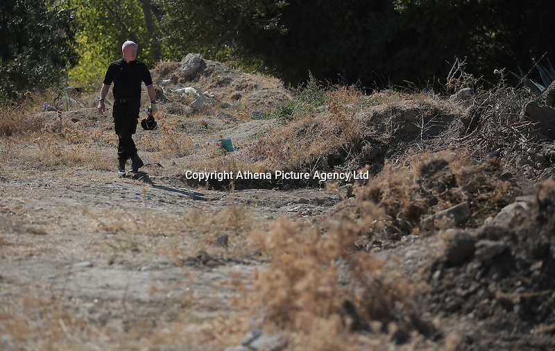 Pictured: Detective Inspector Jon Cousins of South Yorkshire Police at the new plot of land where a new search will take place in Kos, Greece. Thursday 06 October 2016<br />Re: Police teams led by South Yorkshire Police, searching for missing toddler Ben Needham on the Greek island of Kos have moved to a new area where rubble from the re-development of the farmhouse where he disappeared from was deposited in 1991.<br />Ben, from Sheffield, was 21 months old when he disappeared on 24 July 1991 during a family holiday.<br />Digging has begun at a new site after a fresh line of inquiry suggested he could have been crushed by a digger.