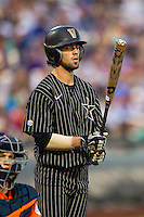 Vanderbilt Commodores shortstop Dansby Swanson (7) at bat during the NCAA College baseball World Series against the Cal State Fullerton Titans on June 14, 2015 at TD Ameritrade Park in Omaha, Nebraska. The Titans were leading 3-0 in the bottom of the sixth inning when the game was suspended by rain. (Andrew Woolley/Four Seam Images)