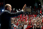 ISTANBUL, TURKEY - JULY 19: Turkish President Recep Tayyip Erdogan greets the crowd who gathered in front of his residence in Kisikli to protest against Parallel State/Gulenist Terrorist Organization's failed military coup attempt in Istanbul, Turkey on July 19, 2016. <br /> <br /> <br /> <br />  Turkish Presidency/Murat Cetinmuhurdar / Anadolu Agency  | BRAA20160719_035 Istanbul Turquie Turkey