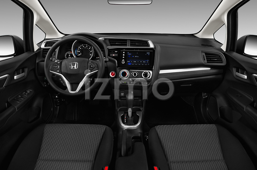 Stock photo of straight dashboard view of a 2018 Honda Fit EX CVT 5 Door Hatchback