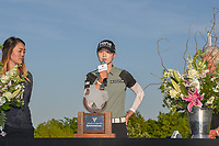 Sung Hyun Park (KOR) speaks during the trophy presentation following the Volunteers of America LPGA Texas Classic, at the Old American Golf Club in The Colony, Texas, USA. 5/6/2018.<br /> Picture: Golffile | Ken Murray<br /> <br /> <br /> All photo usage must carry mandatory copyright credit (&copy; Golffile | Ken Murray)