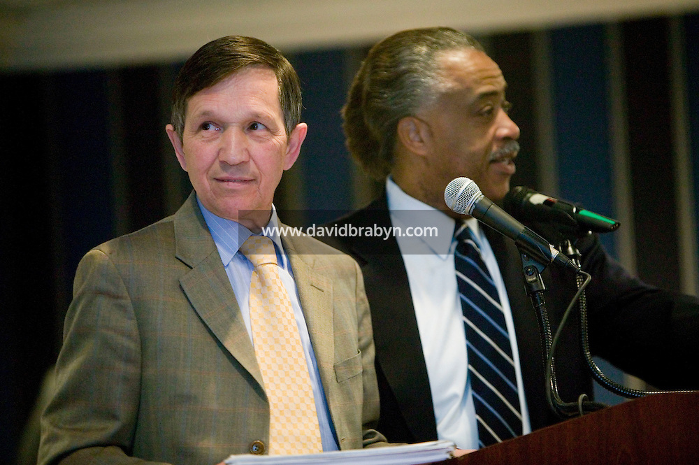 21 April 2007 - New York City, NY - Democratic presidential hopeful congressman Dennis Kucinich (L) and the Reverend Al Sharpton take to the podium during the 9th Annual National Action Network Convention in New York City, USA, April 2007.