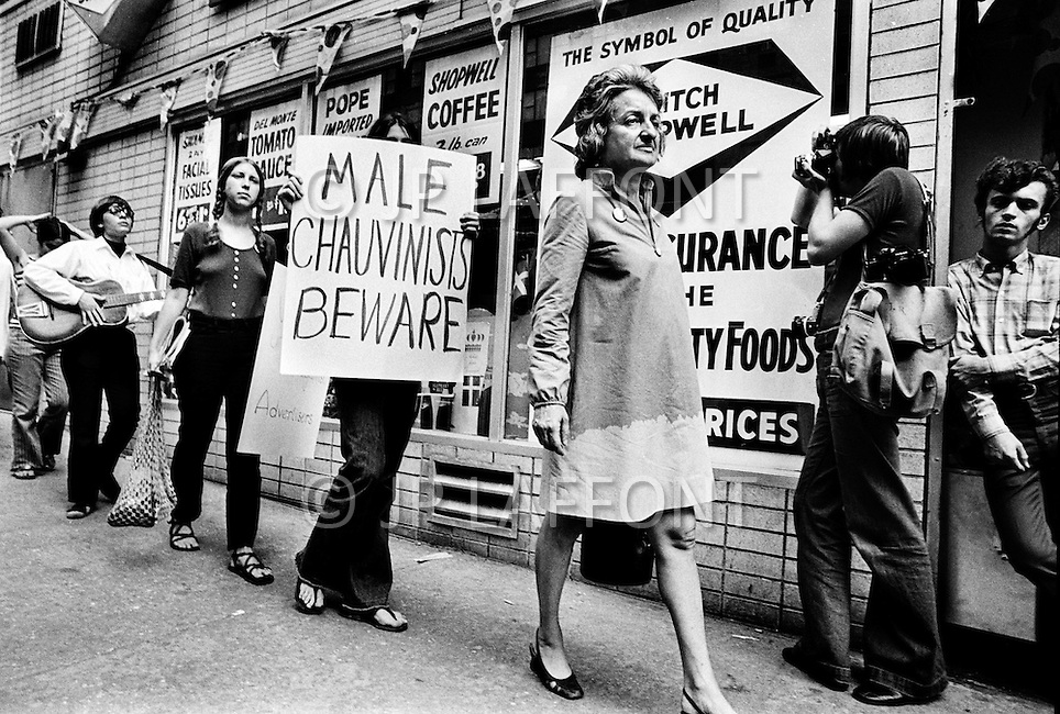 Manhattan, New York City, NY. August 26th, 1970. National Organization for Women President Betty Friedan and feminists march in New York City on August 26, 1970 on the 50th anniversary of the passing of the Nineteenth Amendment which granted American women full suffrage. The National Organization for Women (NOW) called upon women nationwide to strike for equality on that day.