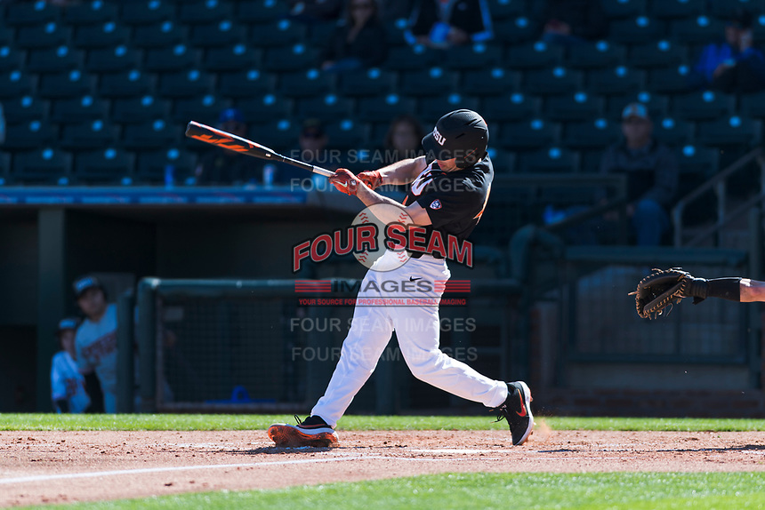 Oregon State Beavers designated hitter Alex McGarry (44) swings at a pitch during a game against the Gonzaga Bulldogs on February 16, 2019 at Surprise Stadium in Surprise, Arizona. Oregon State defeated Gonzaga 9-3. (Zachary Lucy/Four Seam Images)