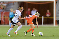 Houston, TX - Thursday Aug. 18, 2016: Victoria Huster, Denise O'Sullivan during a regular season National Women's Soccer League (NWSL) match between the Houston Dash and the Washington Spirit at BBVA Compass Stadium.