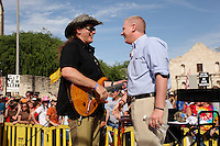 Musician Ted Nugent, left, speaks with Glenn Beck during a public appearance, Wednesday, April 15, 2009, at the Alamo in San Antonio. (Darren Abate/pressphotointl.com)