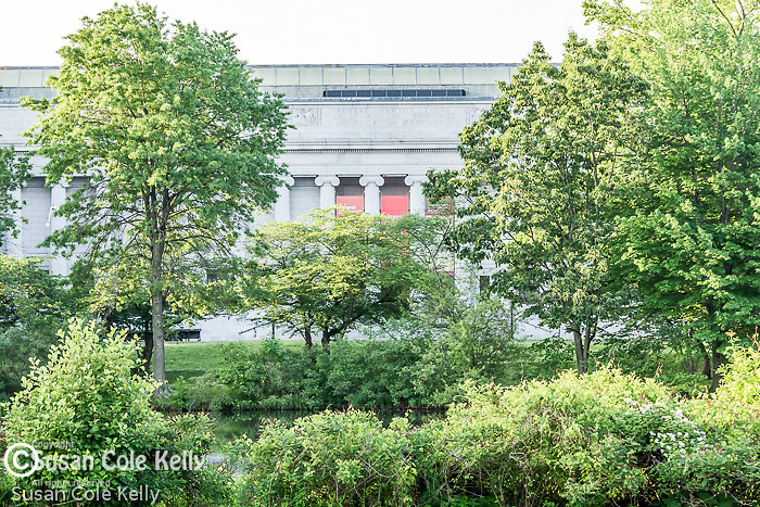 View of the Museum of Fine Arts from The Back Bay Fens, Boston, Massachusetts, USA