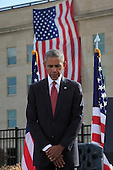 United States President Barack Obama attends the Pentagon Memorial in Washington, DC during an observance ceremony to commemorate the 15th anniversary of the 9/11 terrorist attacks, Sunday, September 11, 2016. <br /> Credit: Dennis Brack / Pool via CNP