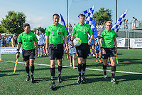 Allston, MA - Sunday July 17, 2016: Amilcar Sicaju, Michael Dee, Matthew Franz, Amber O'Connell prior to a regular season National Women's Soccer League (NWSL) match between the Boston Breakers and Sky Blue FC at Jordan Field.