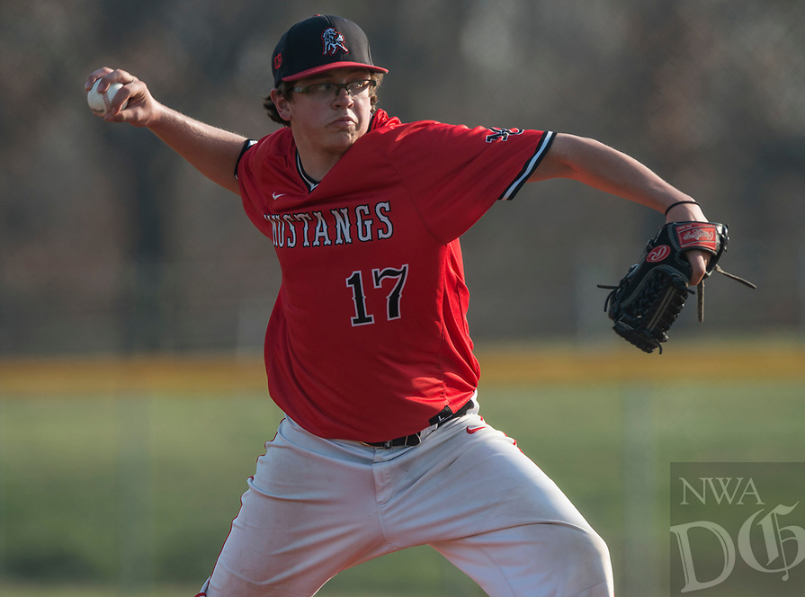 NWA Democrat-Gazette/ANTHONY REYES @NWATONYR<br /> Grant Cooper (17) of McDonald County, Mo., pitches against Shiloh Christian Monday, March 20, 2017 at Shiloh Christian in Springdale.