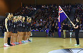 7th September 2017, Te Rauparaha Arena, Wellington, New Zealand; Taini Jamison Netball Trophy; New Zealand versus England;  The Silver Ferns stand for the national anthems