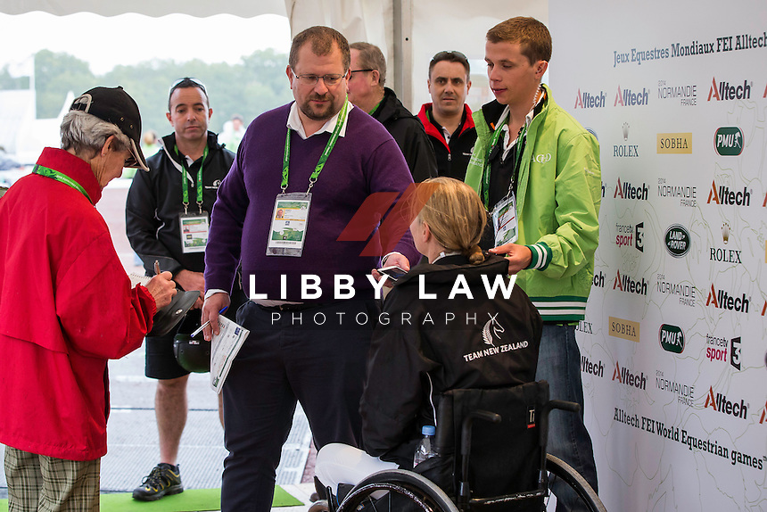 NZL-Anthea Dixon (DONCARTIER) speaks with the Press after her test: FINAL: PARA-DRESSAGE GRADE II - Team Test: The Alltech FEI World Equestrian Games 2014 In Normandy - France (Tuesday 26 August) CREDIT: Libby Law COPYRIGHT: LIBBY LAW PHOTOGRAPHY - NZL