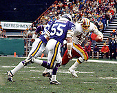 Washington, D.C. - (File Photo) -- Washington Redskin Hall of Fame running back John Riggins (44) carries the ball in round 2 of the National Football Conference (NFC) play-offs against the Minnesota Vikings on Saturday, January 15, 1983 at RFK Stadium in Washington, D.C.  In the game, Riggins ran for 185 yards on 30 carries and scored one touchdown.  The Redskins won the game 21 - 7..Credit: Arnie Sachs / CNP