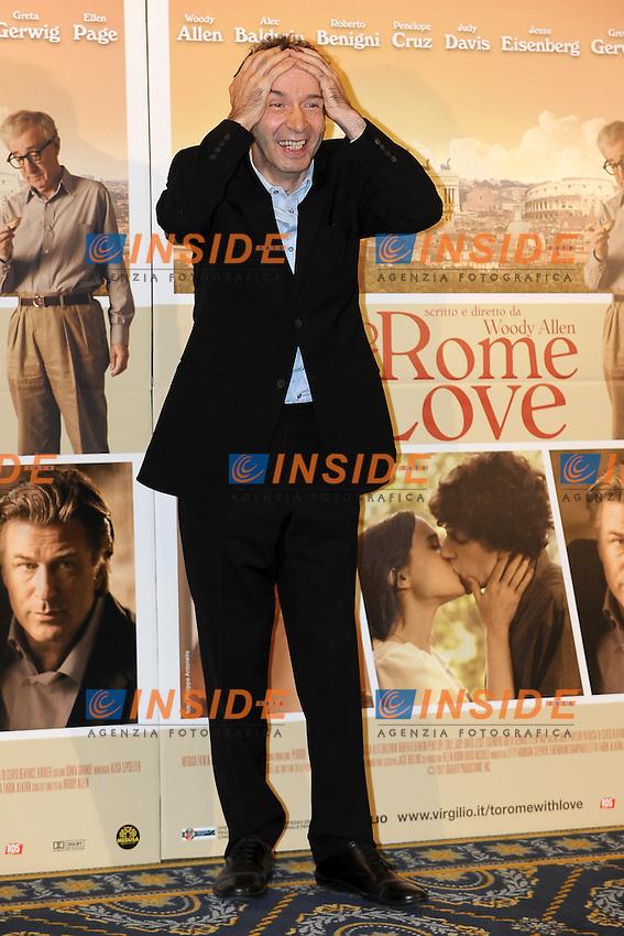 Roberto Benigni.Roma 13/4/2012 Hotel Parco dei Principi.To Rome with Love - Photocall.Foto Insidefoto Andrea Staccioli