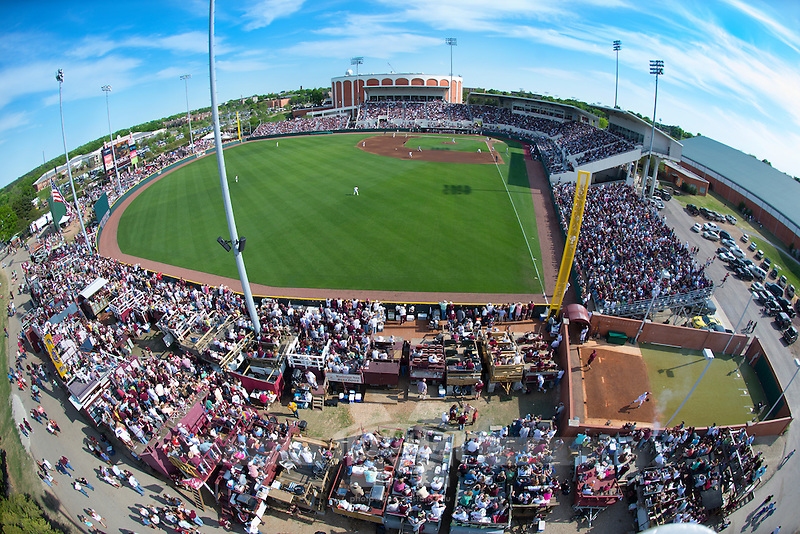 View of Dudy Noble and Left Field Lounge from a bucket truck (photo by Russ Houston / © Mississippi State University)