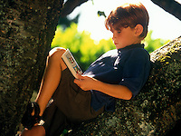 Boy reading a comic book in a tree.