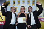 © Joel Goodman - 07973 332324 . 06/11/2014 .  Manchester , UK . Winner of the turnover from £25-£50m category , Cheadle-based branded textiles specialist Character World . The MEN Business Awards 2014 at the Midland Hotel . Photo credit : Joel Goodman