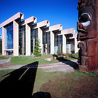Haida Totem Pole and the Museum of Anthropology, at the University of British Columbia (UBC), Vancouver, British Columbia, Canada.