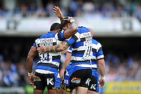 Semesa Rokoduguni and Matt Banahan of Bath Rugby. Aviva Premiership semi-final, between Bath Rugby and Leicester Tigers on May 23, 2015 at the Recreation Ground in Bath, England. Photo by: Patrick Khachfe / Onside Images