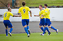 Morton's Archie Campbell (2nd right) celebrates after he scores Morton's third goal   ...
