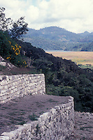 View from the Acroplois, the main structure at at the Mayan ruins of Chinkultic near Comitan, Chiapas, Mexico