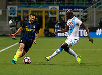 Antonio Candreva  and Kalidou Koulibaly  during the  italian serie a soccer match,between Inter FC  and SSC Napoli      at  the San Siro   stadium in Milan  Italy , April  30, 2017