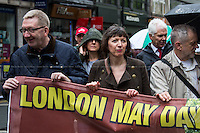 (From L to R) Len McCluskey (General Secretary of Unite), Frances O'Grady (Trades Union Congress, TUC General Secretary) & Jeremy Corbyn MP (Labour Member of Parliament for Islington North).<br /> <br /> London, 01/05/2014. Thousands of people marched in central London to celebrate the International Workers' Day dedicated this year to the two great leaders, Bob Crow (General Secretary & leader of the Rail Maritime and Transport Union, RMT) and Tony Benn (Former Labour Cabinet Minister, Socialist and leading left-wing and anti-war campaigner), both passed away in March 2014. The rally started in Clerkenwell Green and ended in Trafalgar Square where speakers gave speeches remembering the two late leaders, in defence of worker's rights, in protest against the coalition Government spending cuts and policies, and in support and solidarity with the other demonstrations held around the world.