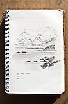 Barkley Sound, Vancouver Island, view from Turret Island, Joel Rogers, Journal Art 2000, charcoal on paper,