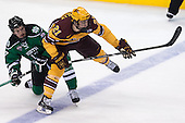 Colten St. Clair (North Dakota - 17), Connor Reilly (MN - 21) - The University of Minnesota Golden Gophers defeated the University of North Dakota 2-1 on Thursday, April 10, 2014, at the Wells Fargo Center in Philadelphia to advance to the Frozen Four final.