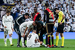 Karim Benzema injured of Real Madrid during La Liga match between Real Madrid and Rayo Vallecano at Santiago Bernabeu Stadium in Madrid, Spain. December 15, 2018. (ALTERPHOTOS/Borja B.Hojas)