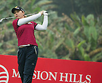 Yoon Ji Cho of South Korea tees off at 13th hole during Round 3 of the World Ladies Championship 2016 on 12 March 2016 at Mission Hills Olazabal Golf Course in Dongguan, China. Photo by Lucas Schifres / Power Sport Images