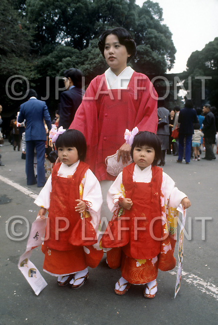 October, 1980. Tokyo, Japan. On Sundays many Japanese families dress in traditional Japanese Kimono.