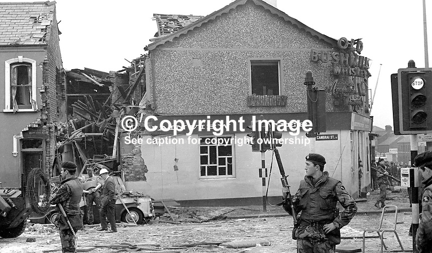 British Army soldiers at Mountainview Tavern at junction of Cambrai Street and Woodvale Road following Provisional IRA bomb on 24th May 1971. There were no fatalities. 197105240207a<br /> <br /> Copyright Image from Victor Patterson, 54 Dorchester Park, Belfast, UK, BT9 6RJ<br /> <br /> Tel: +44 28 9066 1296<br /> Mob: +44 7802 353836<br /> Voicemail +44 20 8816 7153<br /> Skype: victorpattersonbelfast<br /> Email: victor@victorpatterson.com<br /> Email: victorpatterson@me.com (back-up)<br /> <br /> IMPORTANT: If you wish to use this image or any other of my images please go to www.victorpatterson.com and click on the Terms &amp; Conditions. Then contact me by email or phone with the reference number(s) of the image(s) concerned.