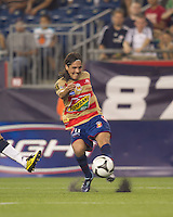 Monarcas Morelia midfielder Hugo Droguett (11) passes the ball. Monarcas Morelia defeated the New England Revolution, 2-1, in the SuperLiga 2010 Final at Gillette Stadium on September 1, 2010.