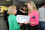 12/8/2015  Athlete Jenna Bromell, Ballyneety, who got seven A1's is congratulated by Minister for Education and Skills Jan O' Sullivan.<br /> Pic: Gareth Williams / Press 22