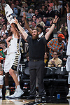 Wake Forest Demon Deacons strength and conditioning coach Ryan Horn reacts to a three-point basket during second half action against the Notre Dame Fighting Irish at the LJVM Coliseum on February 24, 2018 in Winston-Salem, North Carolina. The Fighting Irish defeated the Demon Deacons 76-71.  (Brian Westerholt/Sports On Film)