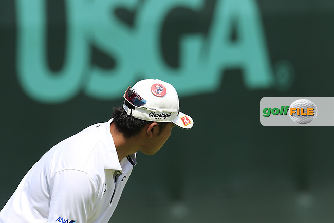 Hideki Matsuyama (JPN) on the 18th green during Wednesday's Practice Day of the 2016 U.S. Open Championship held at Oakmont Country Club, Oakmont, Pittsburgh, Pennsylvania, United States of America. 15th June 2016.<br /> Picture: Eoin Clarke | Golffile<br /> <br /> <br /> All photos usage must carry mandatory copyright credit (&copy; Golffile | Eoin Clarke)