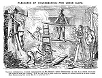 Pleasures of Housekeeping. - The Loose Slate. Tableau, representing further improvements in Mr Briggs's house - destruction of the wall which separates the parlour from the passage. NB. As the wall is only lath and plaster, of course, little or no mess is made. Mrs Briggs says, she hopes Mr B is satisfied now!
