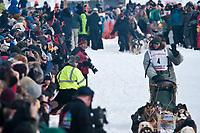 Ed Iten team leaves the start line during the restart day of Iditarod 2009 in Willow, Alaska