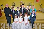 Pupils from Asdee NS who received their First Holy Communion last Saturday in Asdee Parish Church. F l-r: Caoimhe Scanlon, Megan Quinn, Emma Lynch. B l-r: Fr Tarrant, Padraig Lynch, Gerard Mulvihill, Ciaran Griffin, Joseph Mulvhill, Miss Michelle Sweeney and Shane Dineen.