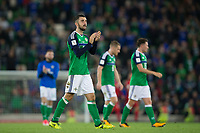 Northern Ireland's Conor McLaughlin applauds the fans     <br /> <br /> <br /> Photographer Craig Mercer/CameraSport<br /> <br /> FIFA World Cup Qualifying - European Region - Group C - Northern Ireland v Czech Republic - Monday 4th September 2017 - Windsor Park - Belfast<br /> <br /> World Copyright &copy; 2017 CameraSport. All rights reserved. 43 Linden Ave. Countesthorpe. Leicester. England. LE8 5PG - Tel: +44 (0) 116 277 4147 - admin@camerasport.com - www.camerasport.com